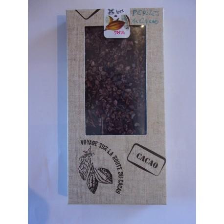 Tablette dégustation noir 78% pépites de cacao