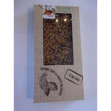 Tablette dégustation noir 78% cacao au sésame