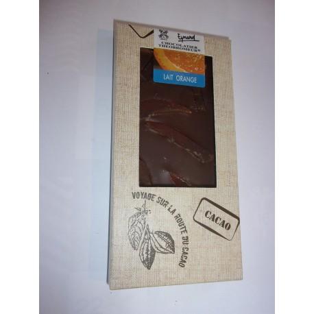 Tablette dégustation chocolat au lait à l'orange