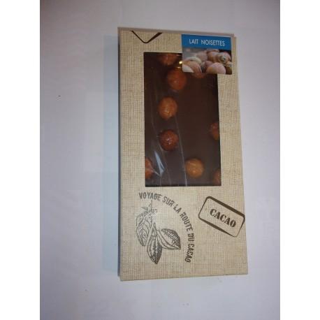 Tablette dégustation chocolat au lait - noisettes