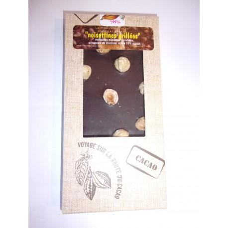 Tablette dégustation noir 78% cacao - noisettines grillées
